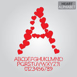 Red Heart Alphabet and Numbers Vector Royalty Free Stock Images
