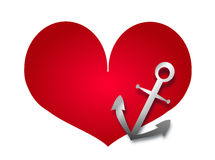 Red heart with anchor Royalty Free Stock Image