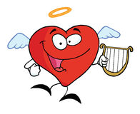 Red heart angel. Character flying with a lyre royalty free illustration