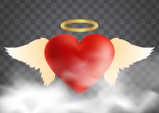 Red heart with angel wings. And halo royalty free illustration