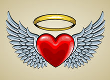 Red heart with angel wings and halo Stock Photography