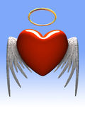 Red heart-angel with wings isolated on gradient. 3D vector illustration