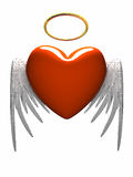 Red heart-angel with wings isolated on white background. 3D stock illustration