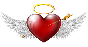 Red heart with angel wings Royalty Free Stock Photos