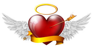 Red heart with angel wings. And sash, pierced by an arrow of fire Royalty Free Stock Photo