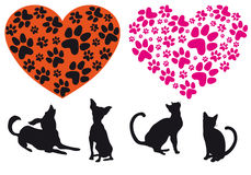 Red heart with animal foodprint pattern, vector Royalty Free Stock Images