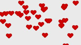 Red heart animation background. Flight of Hearts stock footage