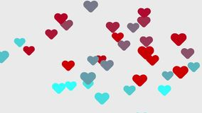 Red heart animation background. Flight of Hearts stock video