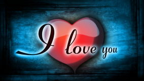 Red heart with animation and inscription I love you for Valentine's day stock video