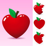 Red heart apple. On pink background royalty free illustration