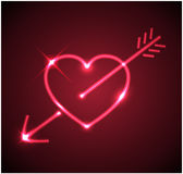 Red heart with arrow Royalty Free Stock Photography