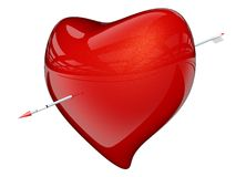 Red heart with arrow. 3D render Maya mental ray stock illustration