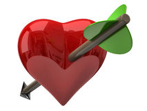 Red heart with arrow. 3d illustration of red heart with arrow Stock Photos