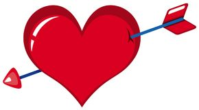 Red heart with arrow. Illustration Stock Image