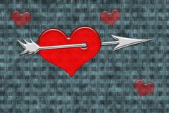 Red heart with arrow Stock Photo