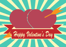 Red heart with arrow and  ribbon on Sunrays Illustration with Va Royalty Free Stock Image