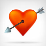 Red heart with an arrow shot throughout design Stock Photo