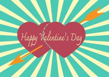 Red heart with arrow on Sunrays Illustration with Valentine`s Da Royalty Free Stock Image