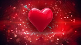 Red heart with an arrow turning on glittering background stock video