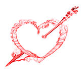 Red  heart with arrow  for valentine day. Smoke red  heart with arrow  for valentine day isolated on white Royalty Free Stock Image