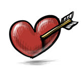 Red heart with arrow. Stock Photography