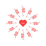 Red heart with arrows around. Concept of cupidon, rendezvous, amorousness, find love at first sight, jealousy. isolated on white background. flat style trend Stock Photos