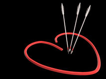 Red heart and arrows, 3D Stock Images