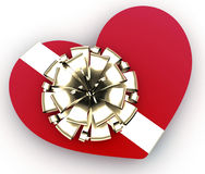 Red heart as gift. Heart gift present on white background. 3d concept of Valentine's day Stock Photography