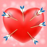 Red heart attacked by cupid arrows vector. A red heart attacked by cupid arrows vector stock illustration