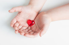 Red heart in baby's hands Royalty Free Stock Photos