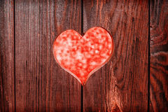Red heart on a background of wooden boards Stock Photo