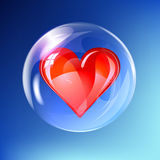 Red heart in balloon Royalty Free Stock Photo