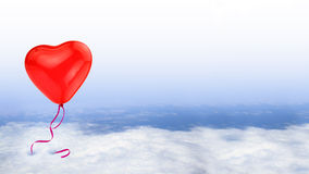 Red heart balloon on blue sky Royalty Free Stock Photos