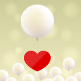 Red heart on balloon Stock Photos