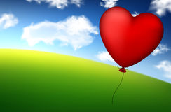 Red heart balloon in sky. Royalty Free Stock Photo