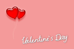 Red Heart balloon in Valentine day. Concept on pink sweet background Stock Photo