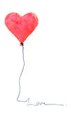 Red heart balloon on white. Watercolor painting of red heart balloon on white paper Stock Image