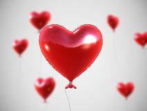 Red heart balloons. 3d rendered illustration of some flying red heart-shaped balloon Stock Image