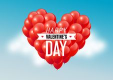 Red heart balloons in blue sky with Happy Valentines Day text, vector illustration. Eps10 Royalty Free Stock Image