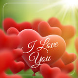 Red heart balloons flying bunch. EPS 10 Royalty Free Stock Photo
