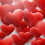 Red heart balloons flying bunch. EPS 10 Stock Photography