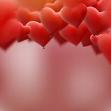 Red heart balloons flying bunch. EPS 10 Stock Photos