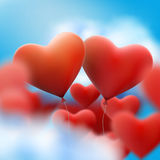 Red heart balloons flying bunch. EPS 10 Stock Photo