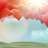 Red heart balloons flying bunch. EPS 10 Royalty Free Stock Image