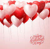Red Heart Balloons Flying with Patterns in White for Valentines Greetings Royalty Free Stock Photos