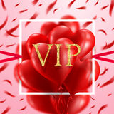 Red Heart Balloons Red Heart Balloons `VIP` Card.Love and Valentine`s Day concept Stock Photo