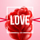 Red Heart Balloons Valentine`s Day Card.Love Concept Stock Image