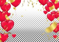 Red heart balloons, vector illustration. Confetti and ribbons, C. Elebration background template with confetti and  ribbons Stock Photos