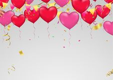 Red heart balloons, vector illustration. Confetti and ribbons, C. Elebration background template with confetti and  ribbons Stock Photography