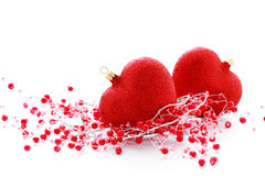 Red heart balls Stock Photos